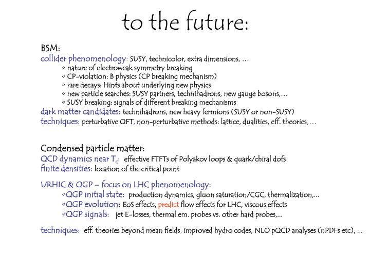 to the future: