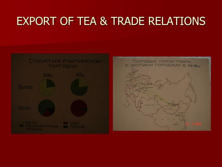 EXPORT OF TEA & TRADE RELATIONS