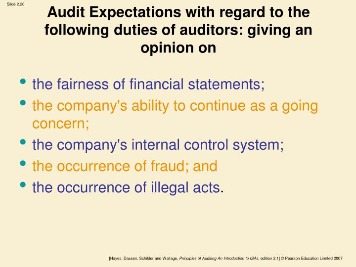 Audit Expectations with regard to the following duties of auditors: giving an opinion on