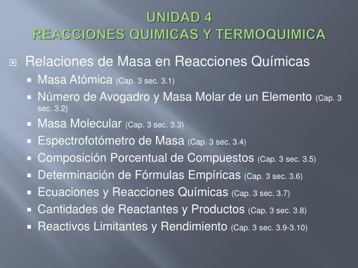 unidad 4 reacciones quimicas y termoquimica n.