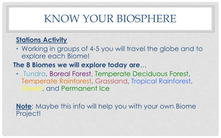 Know your Biosphere