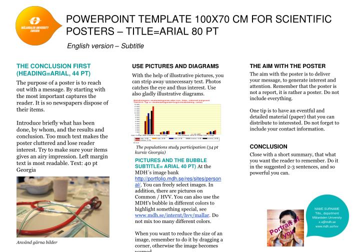 powerpoint template 100x70 cm for scientific posters title arial 80 pt n.