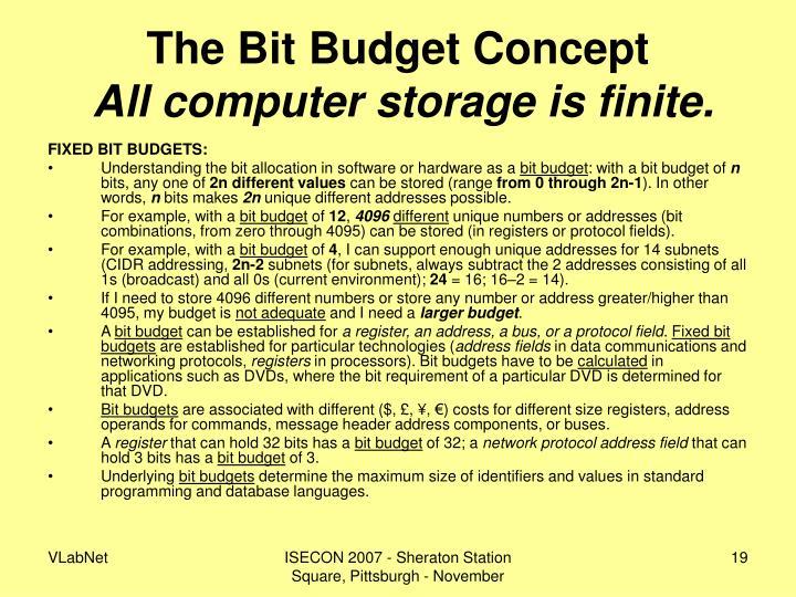 The Bit Budget Concept