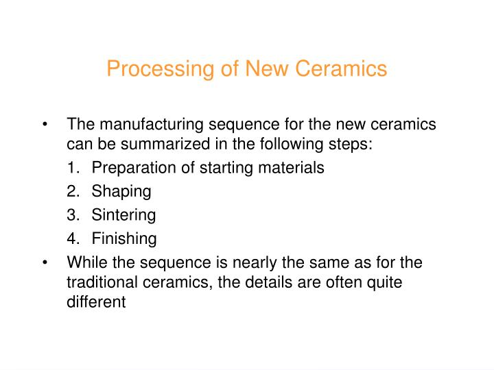 Processing of New Ceramics