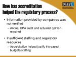 how has accreditation helped the regulatory process
