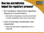 how has accreditation helped the regulatory process1
