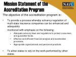 mission statement of the accreditation program
