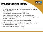 pre accreditation review