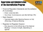 supervision and administration of the accreditation program