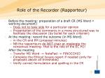 role of the recorder rapporteur