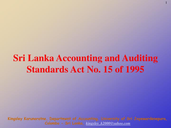 sri lanka accounting and auditing standards act no 15 of 1995 n.