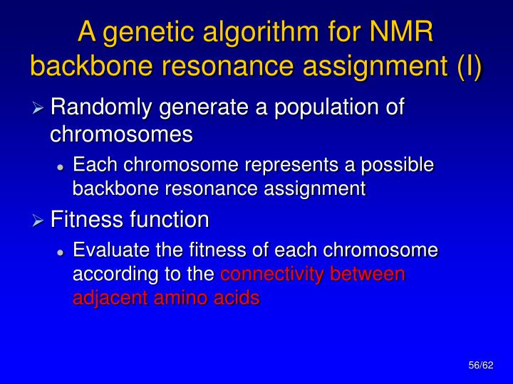 A genetic algorithm for NMR backbone resonance assignment (I)