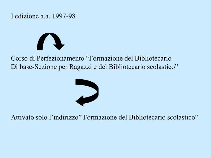 I edizione a.a. 1997-98