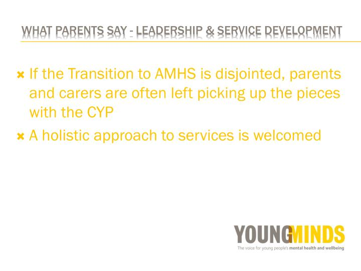 If the Transition to AMHS is disjointed, parents and carers are often left picking up the pieces with the CYP