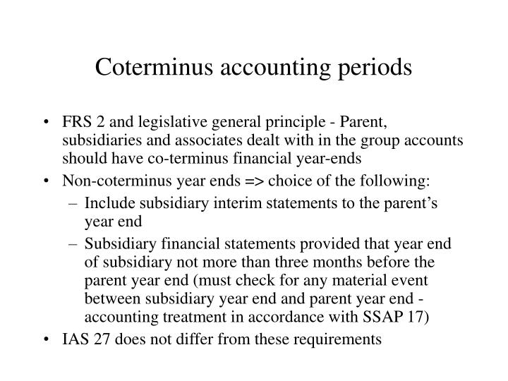 Coterminus accounting periods