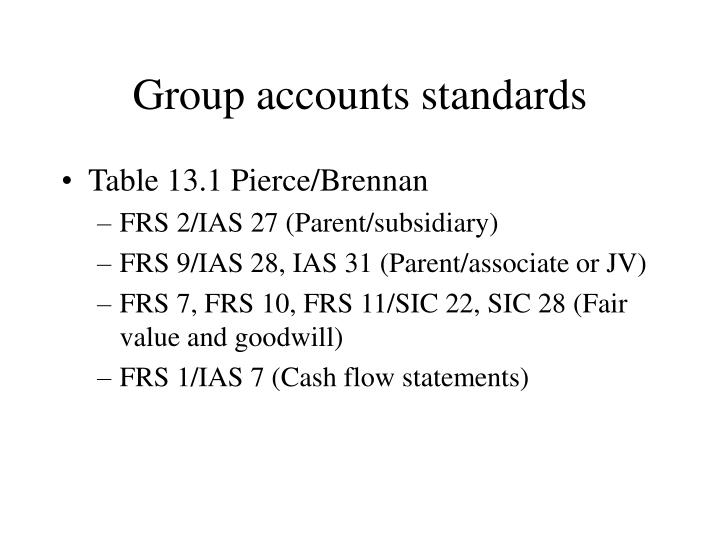 Group accounts standards