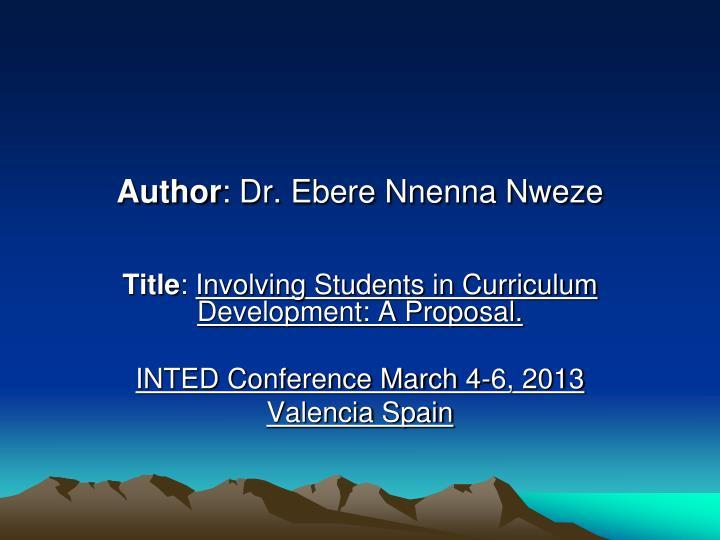 Author dr ebere nnenna nweze