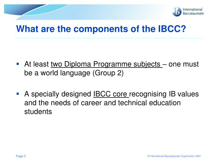 What are the components of the ibcc