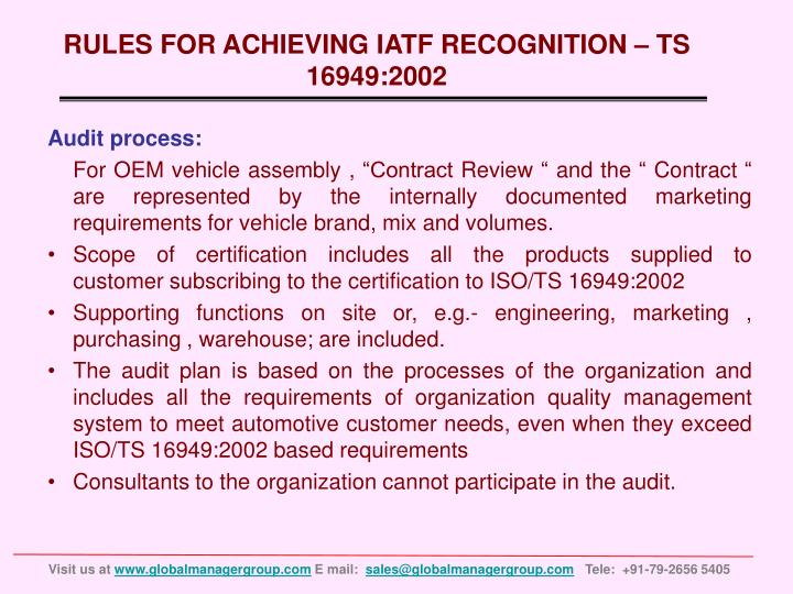 RULES FOR ACHIEVING IATF RECOGNITION – TS 16949:2002