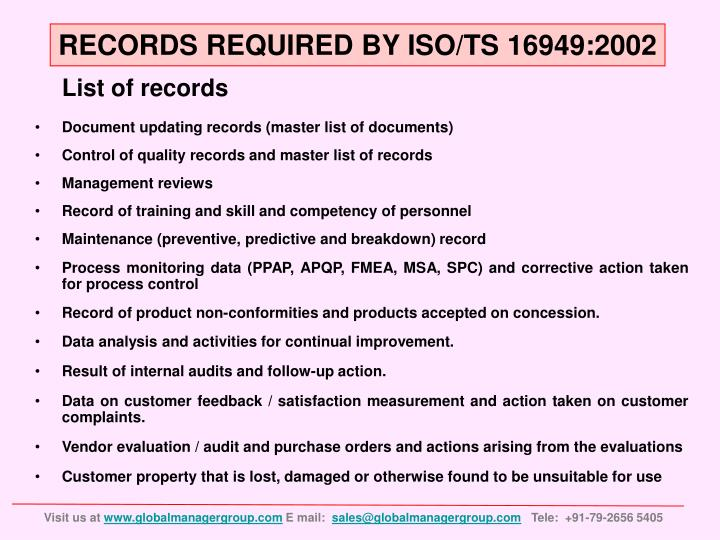 RECORDS REQUIRED BY ISO/TS 16949:2002
