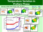 temperature variation in preflare phase