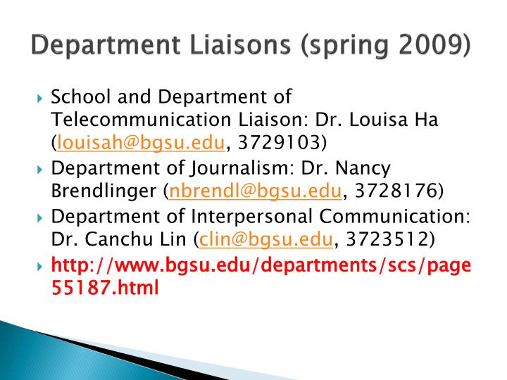 Department Liaisons (spring 2009)