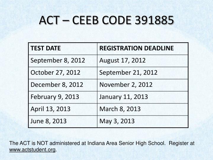ACT – CEEB CODE 391885