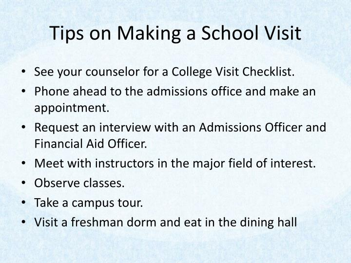 Tips on Making a School Visit