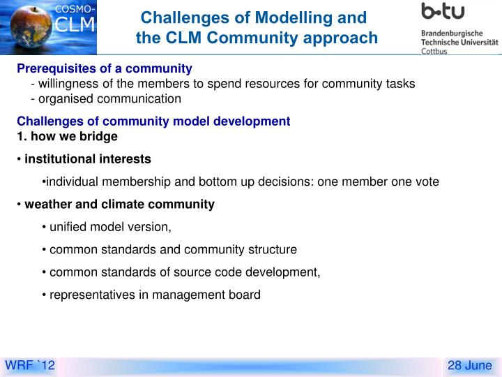 Challenges of Modelling and