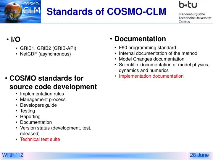 Standards of COSMO-CLM
