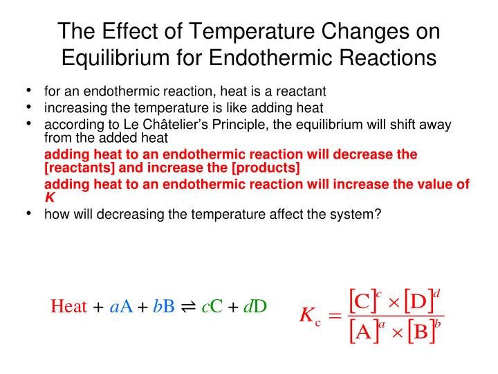 The Effect of Temperature Changes on Equilibrium for Endothermic Reactions