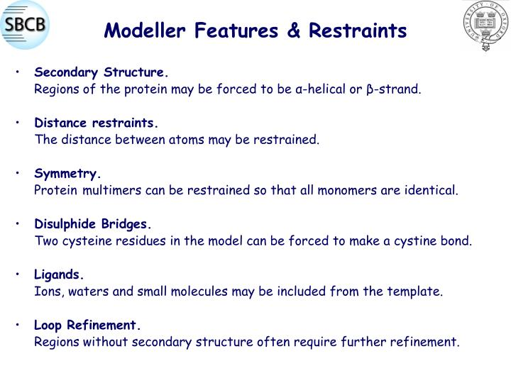 Modeller Features & Restraints