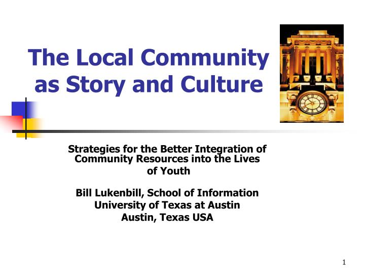 the local community as story and culture n.