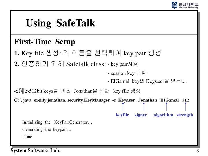 Using  SafeTalk