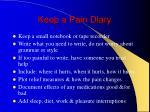 keep a pain diary