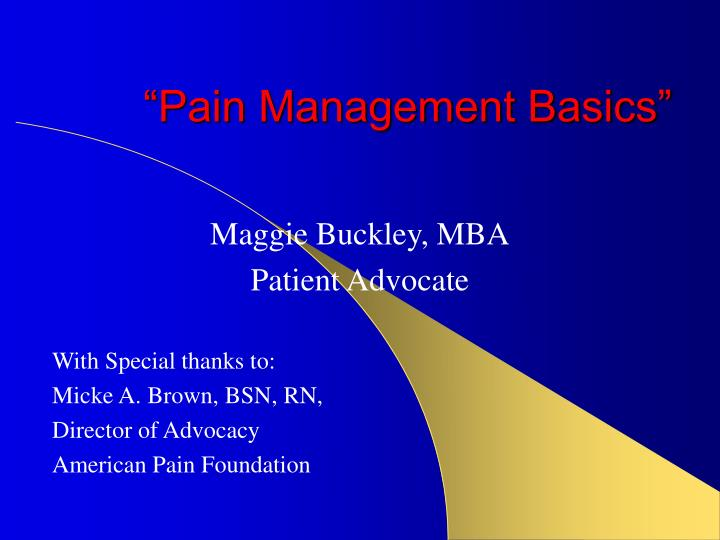 pain management basics