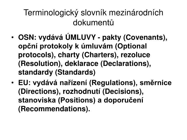 Terminologický slovník mezinárodních dokumentů