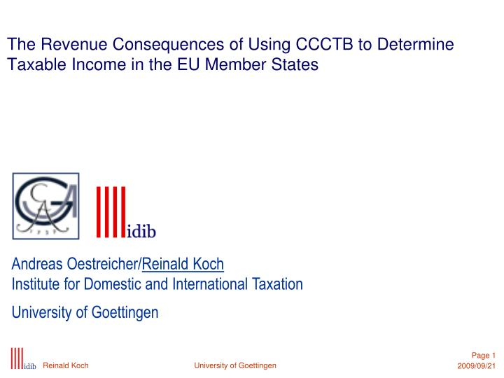 the revenue consequences of using ccctb to determine taxable income in the eu member states n.