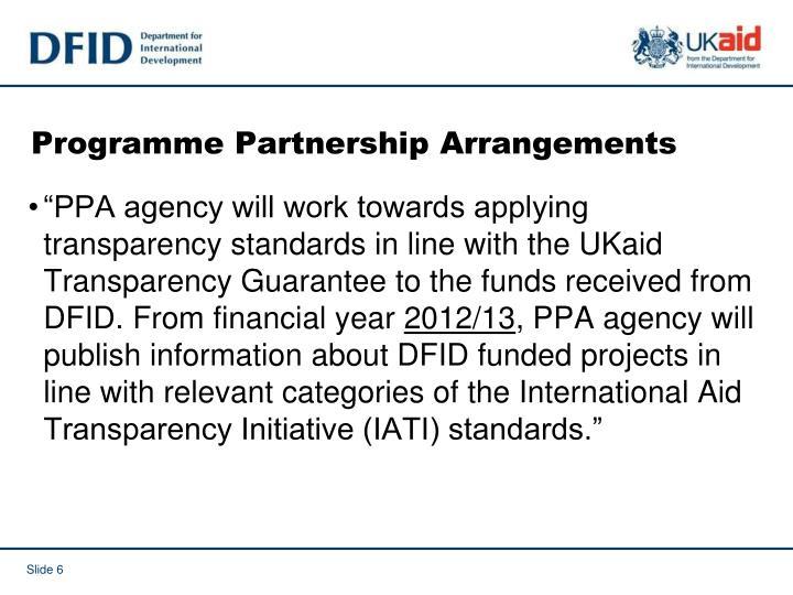 Programme Partnership Arrangements