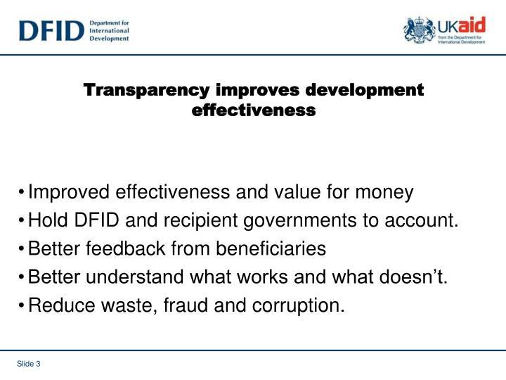 Transparency improves development effectiveness