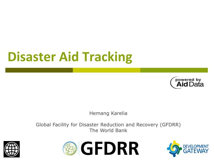 Disaster aid tracking