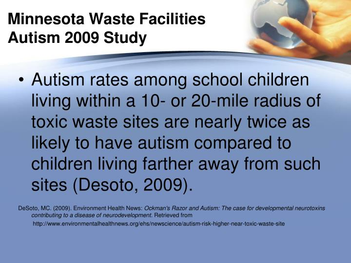 Minnesota Waste Facilities Autism 2009 Study