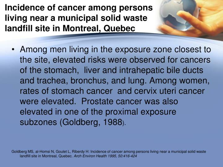 Incidence of cancer among persons living near a municipal solid waste landfill site in Montreal, Quebec