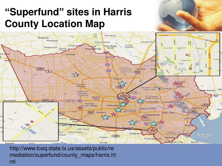"""Superfund"" sites in Harris County Location Map"