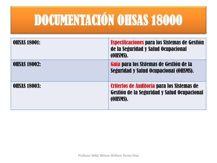 DOCUMENTACIÓN OHSAS 18000