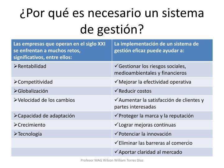 ¿Por qué es necesario un sistema de gestión?