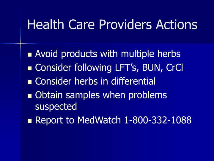 Health Care Providers Actions
