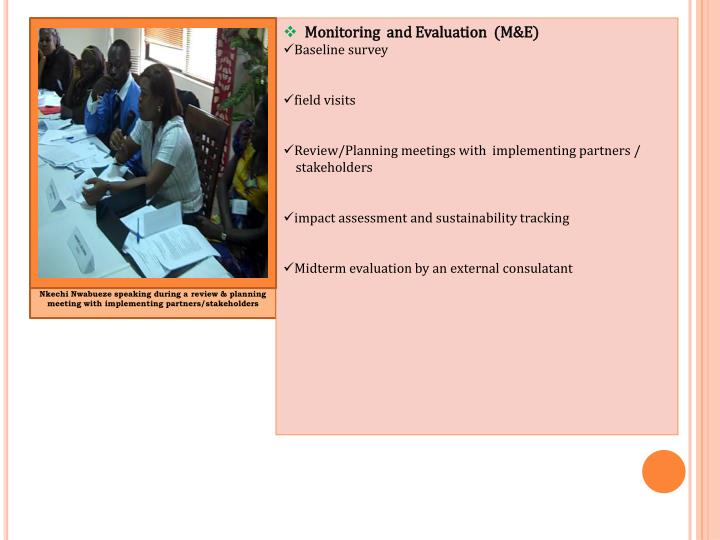 Monitoring  and Evaluation  (M&E)