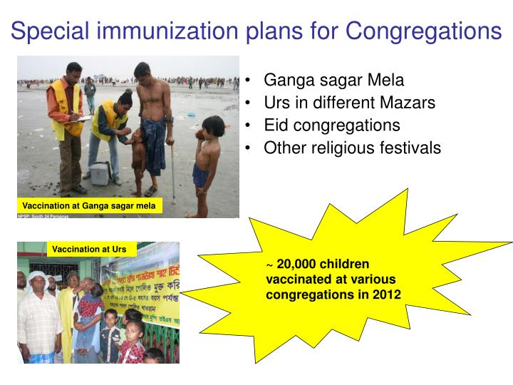 Special immunization plans for Congregations