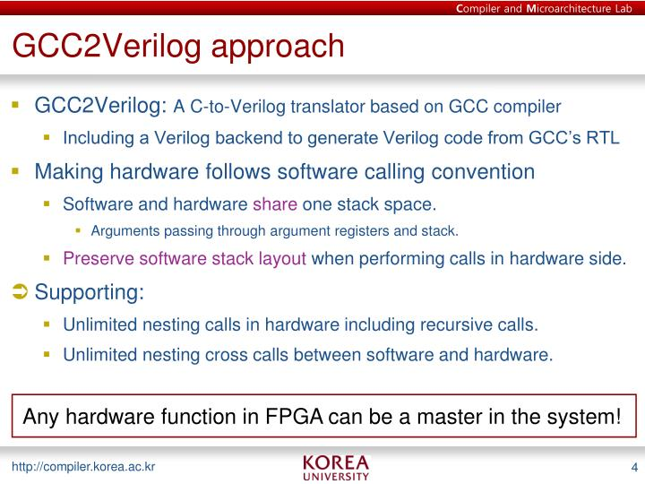 GCC2Verilog approach